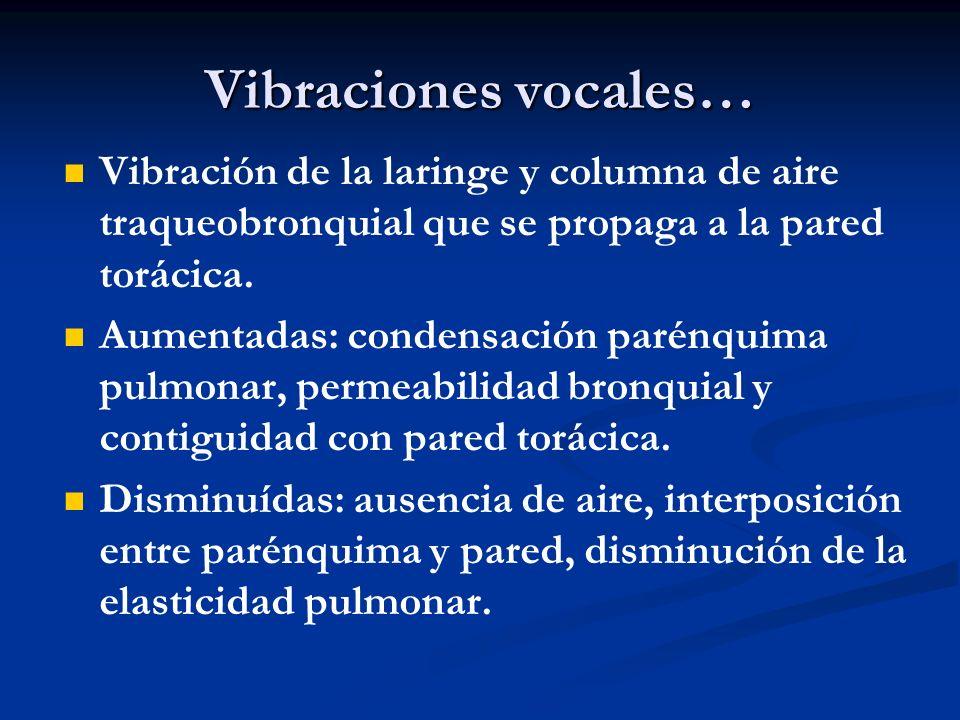 Vibraciones vocales… Vibración de la laringe y columna de aire traqueobronquial que se propaga a la pared torácica.
