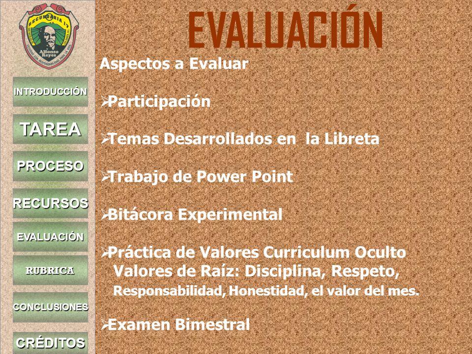 EVALUACIÓN TAREA Aspectos a Evaluar Participación