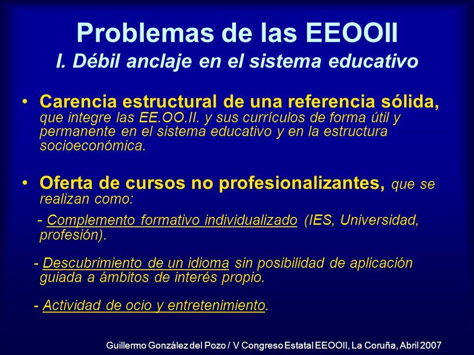Problemas de las EEOOII I. Débil anclaje en el sistema educativo