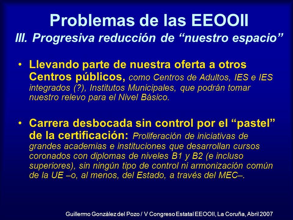 Problemas de las EEOOII III. Progresiva reducción de nuestro espacio