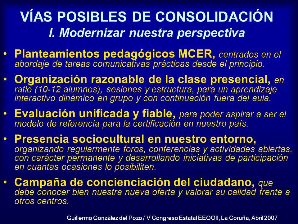 VÍAS POSIBLES DE CONSOLIDACIÓN I. Modernizar nuestra perspectiva