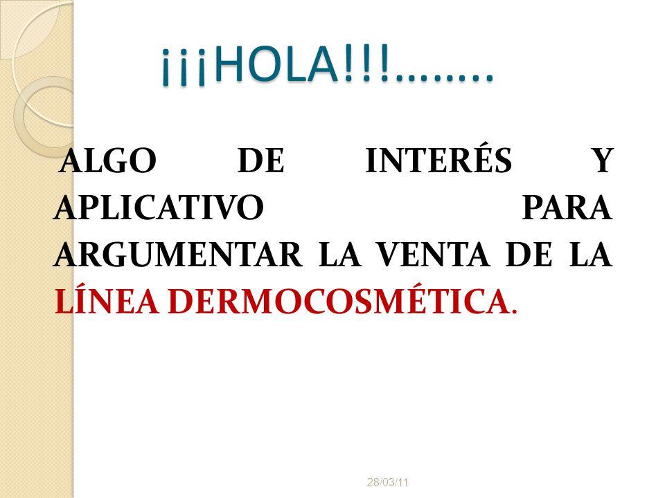 ¡¡¡HOLA!!!…….. ALGO DE INTERÉS Y APLICATIVO PARA ARGUMENTAR LA VENTA DE LA LÍNEA DERMOCOSMÉTICA.