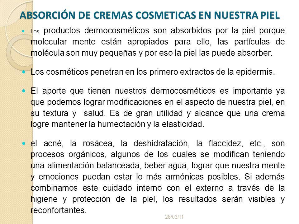 ABSORCIÓN DE CREMAS COSMETICAS EN NUESTRA PIEL