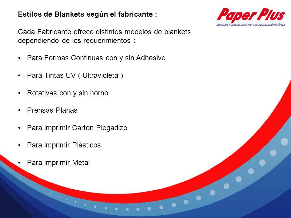 Estilos de Blankets según el fabricante :