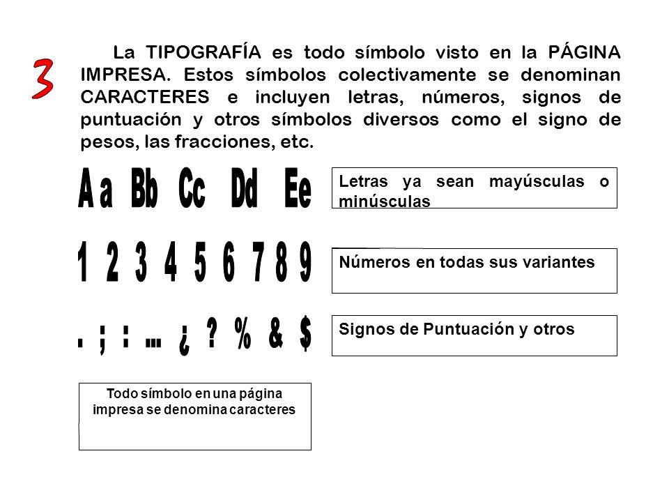 Todo símbolo en una página impresa se denomina caracteres