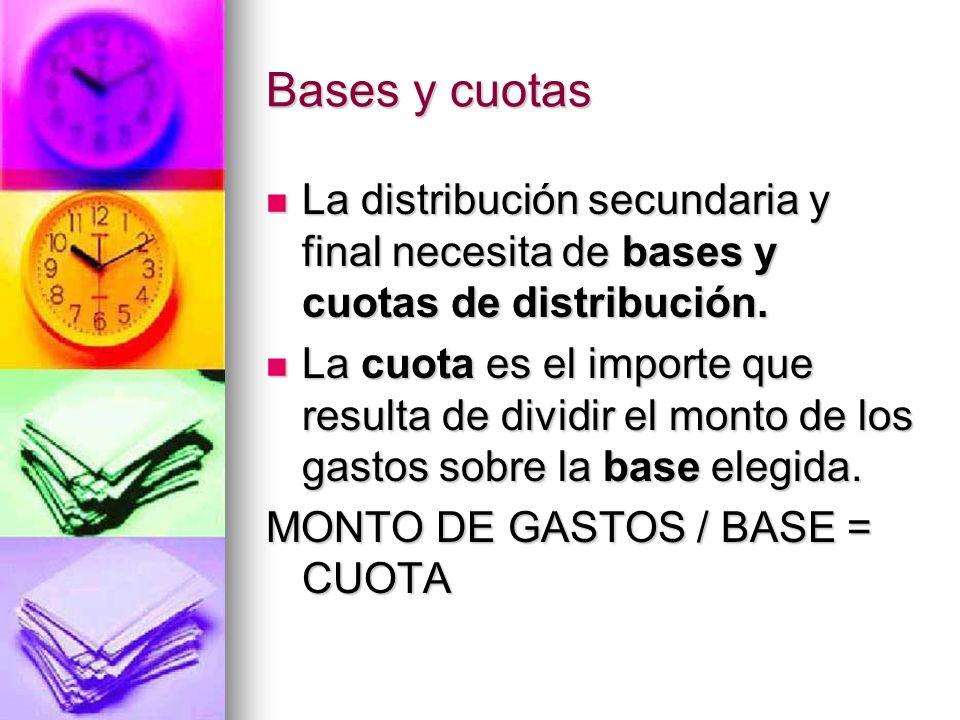 Bases y cuotas La distribución secundaria y final necesita de bases y cuotas de distribución.