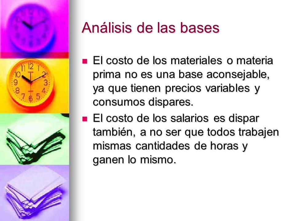 Análisis de las bases El costo de los materiales o materia prima no es una base aconsejable, ya que tienen precios variables y consumos dispares.