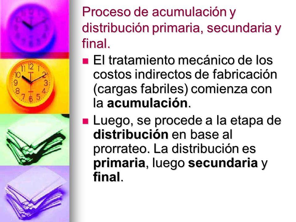 Proceso de acumulación y distribución primaria, secundaria y final.