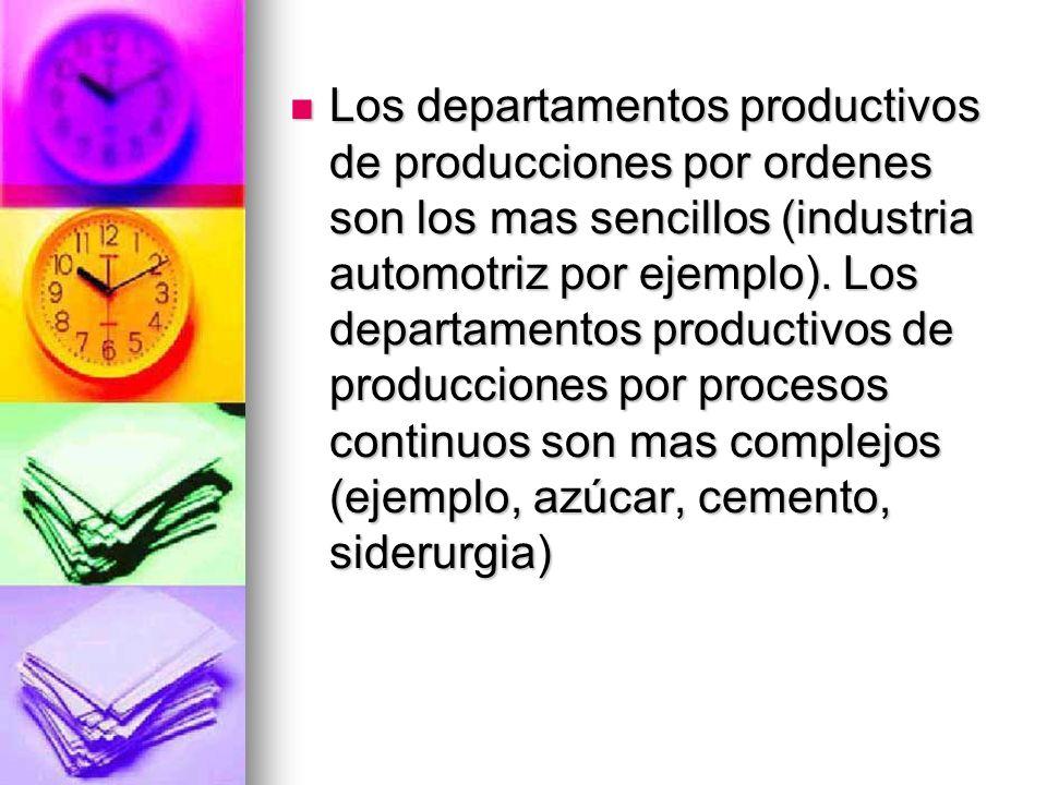 Los departamentos productivos de producciones por ordenes son los mas sencillos (industria automotriz por ejemplo).