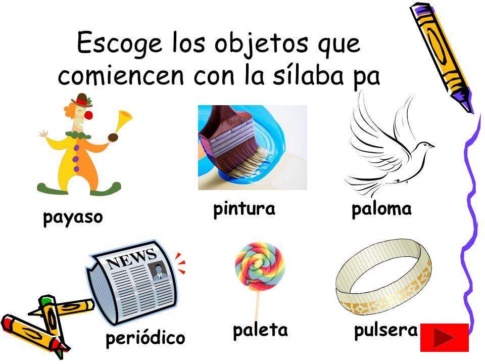 Escoge los objetos que comiencen con la sílaba pa
