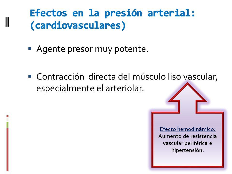 Efectos en la presión arterial: (cardiovasculares)