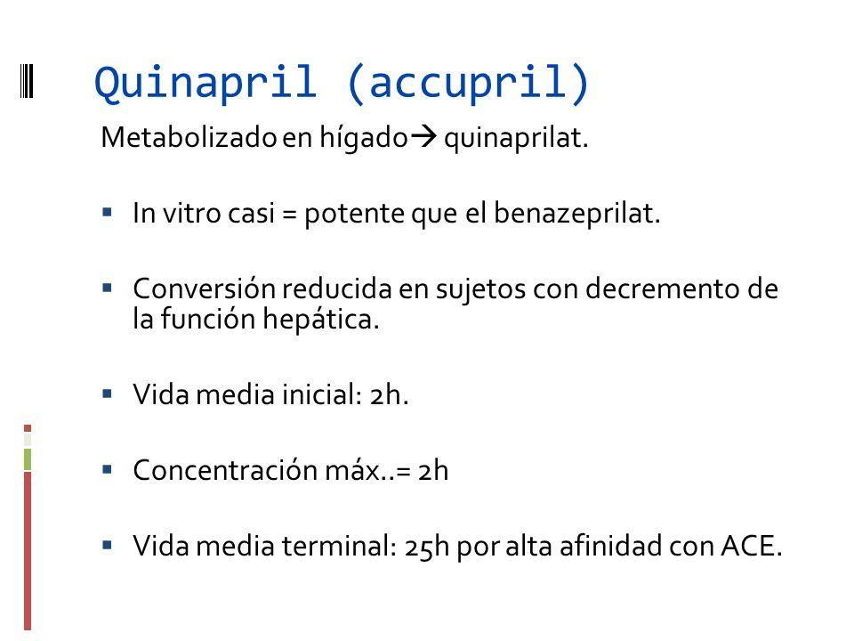 Quinapril (accupril) Metabolizado en hígado quinaprilat.