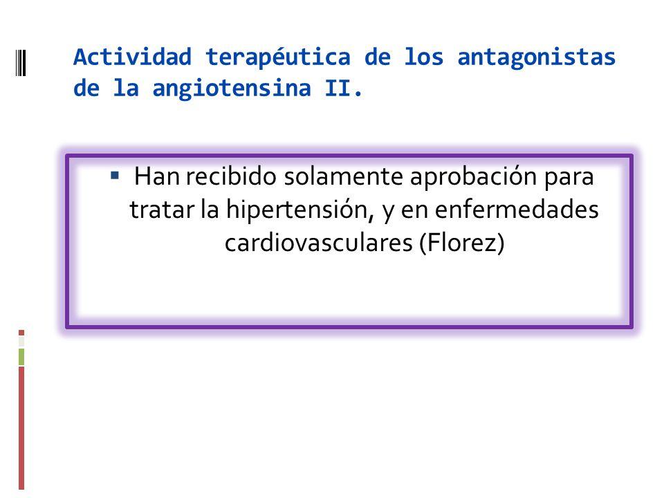 Actividad terapéutica de los antagonistas de la angiotensina II.