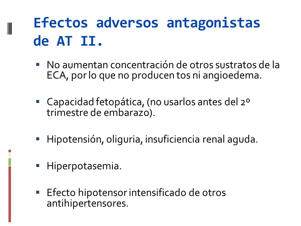 Efectos adversos antagonistas de AT II.