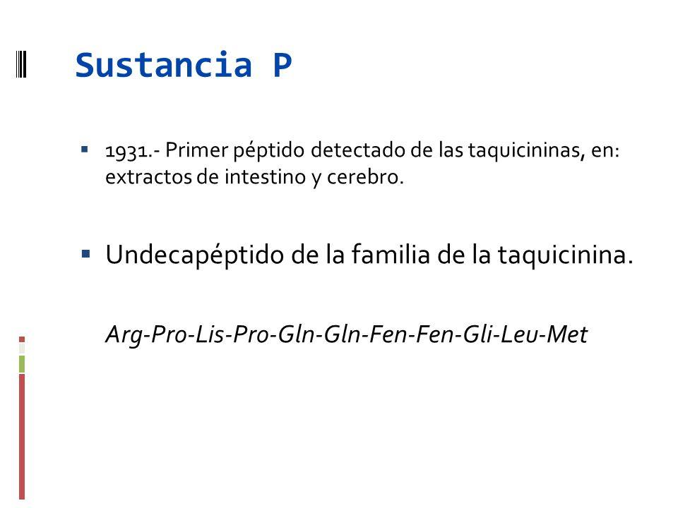 Sustancia P Undecapéptido de la familia de la taquicinina.