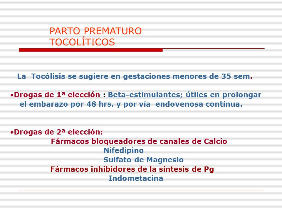 PARTO PREMATURO TOCOLÍTICOS