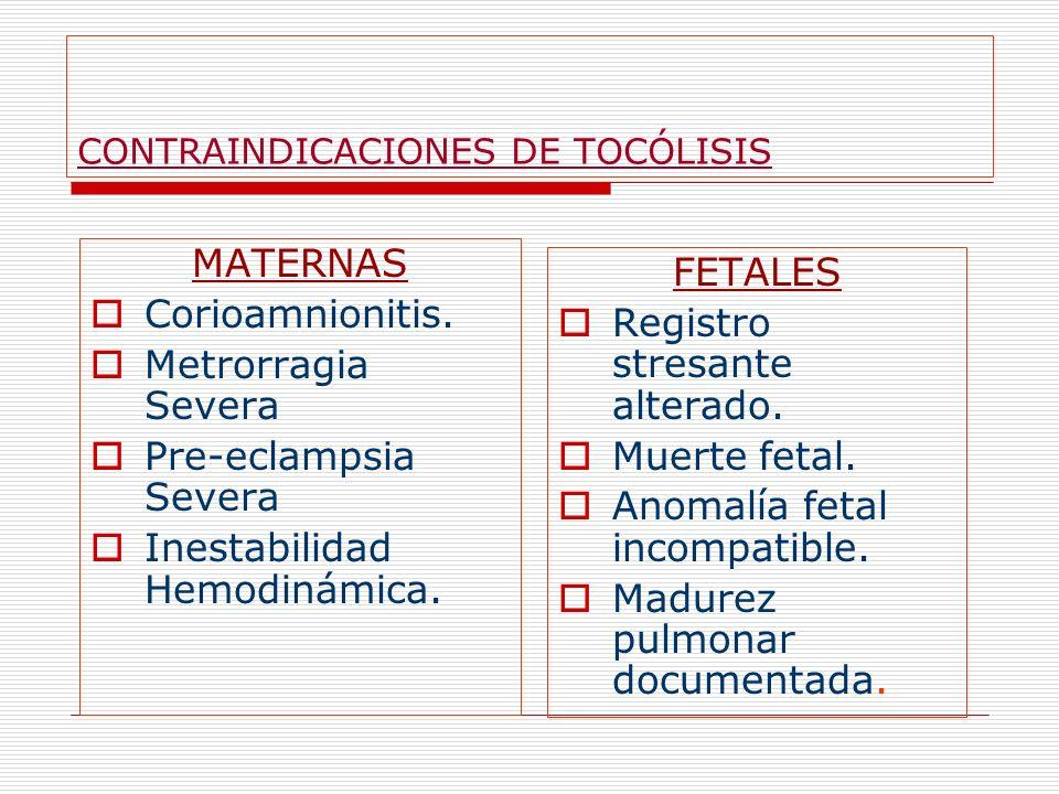 CONTRAINDICACIONES DE TOCÓLISIS