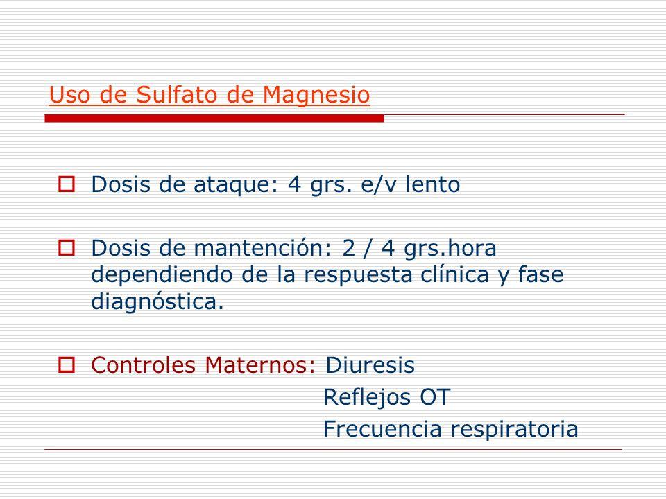 Uso de Sulfato de Magnesio
