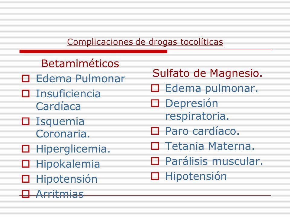 Complicaciones de drogas tocolíticas