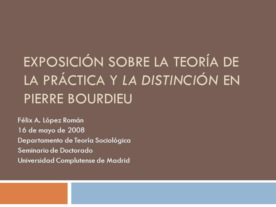 Exposición sobre la teoría de la práctica y la Distinción en Pierre Bourdieu