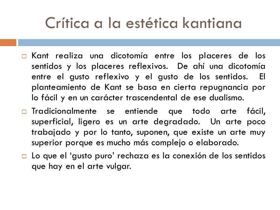 Crítica a la estética kantiana