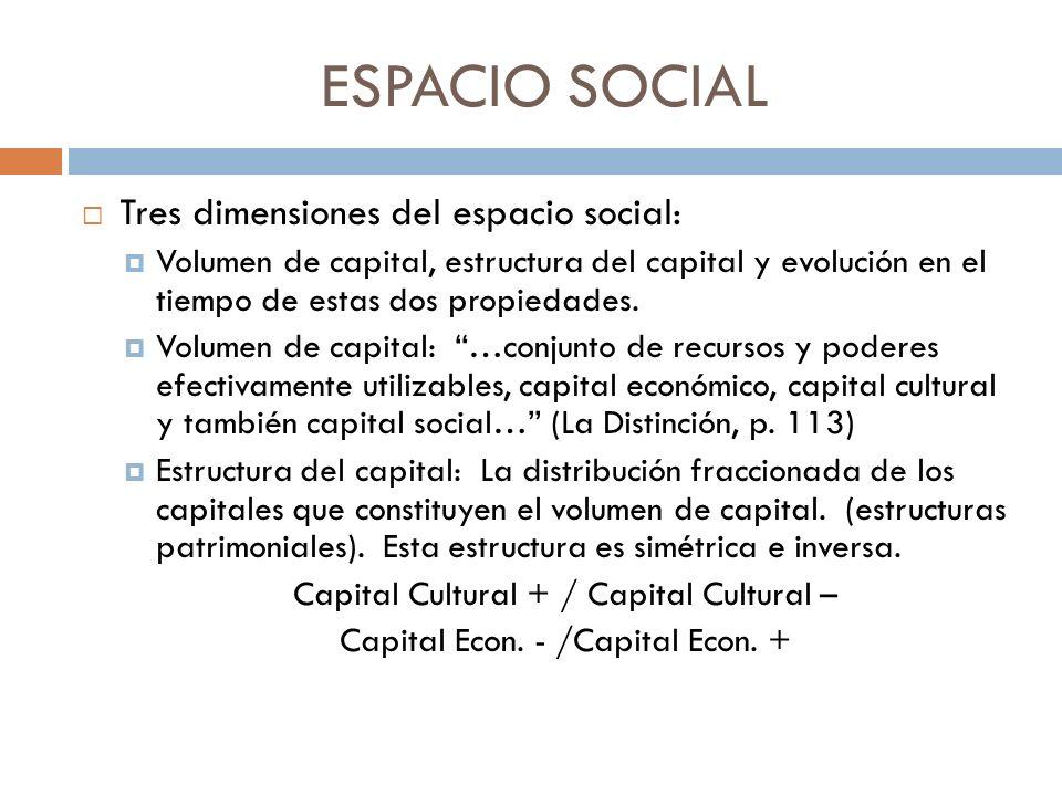 ESPACIO SOCIAL Tres dimensiones del espacio social: