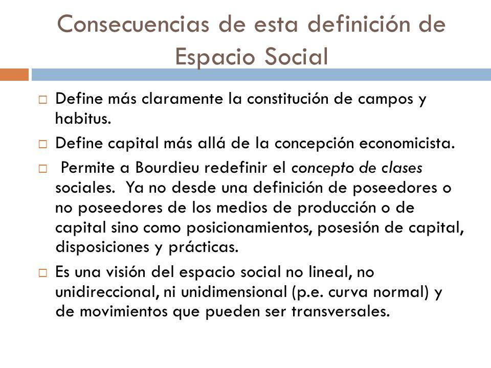 Consecuencias de esta definición de Espacio Social