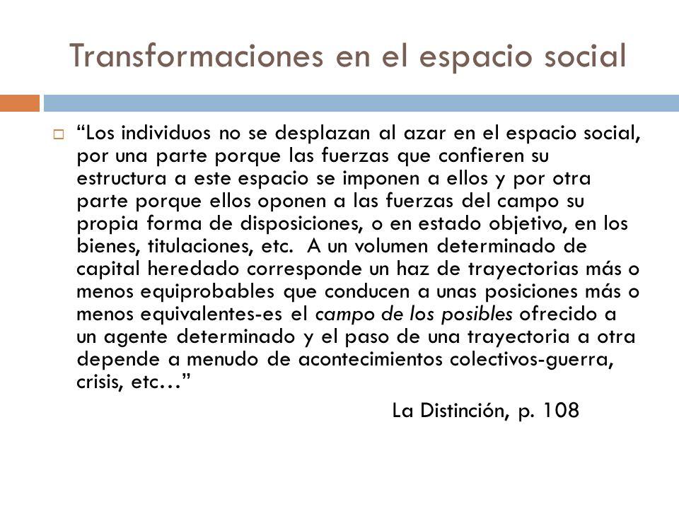 Transformaciones en el espacio social