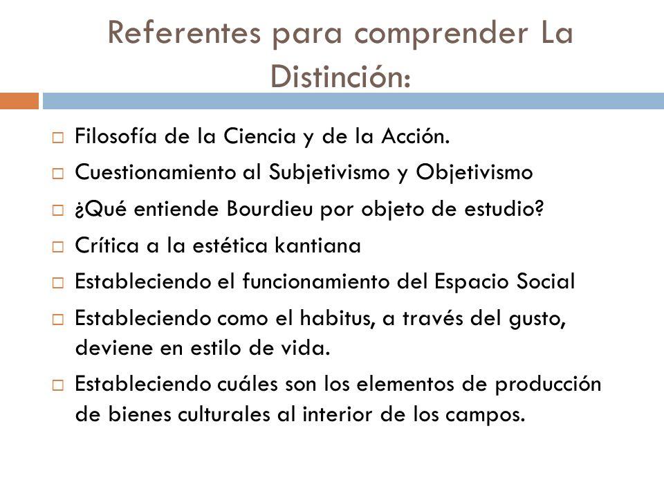 Referentes para comprender La Distinción: