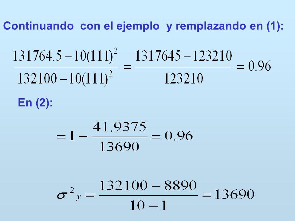 Continuando con el ejemplo y remplazando en (1):