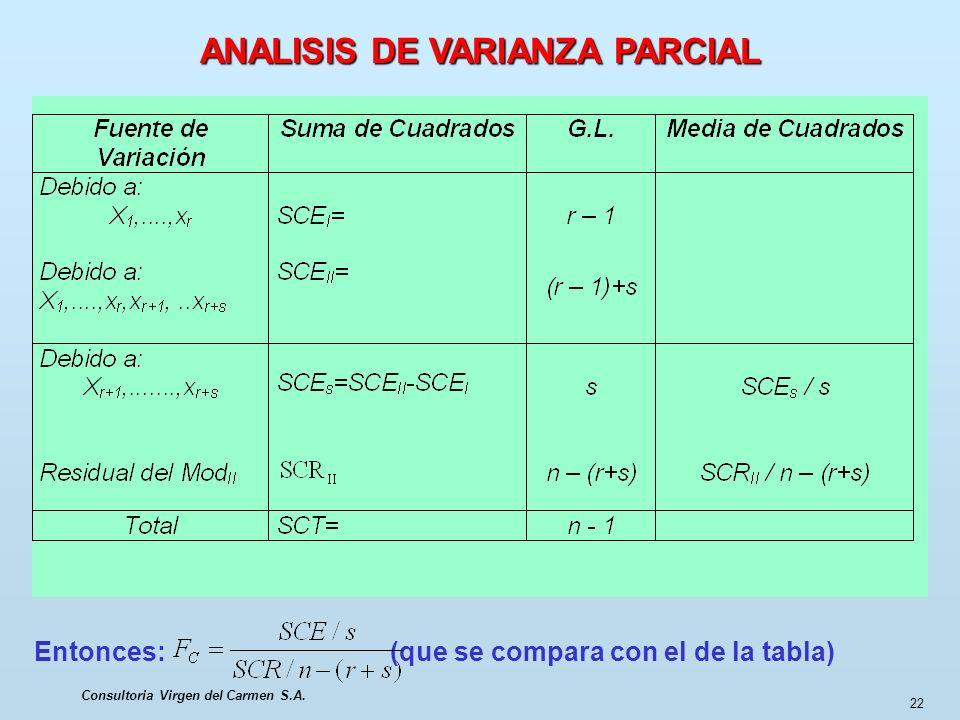 ANALISIS DE VARIANZA PARCIAL Consultoria Virgen del Carmen S.A.