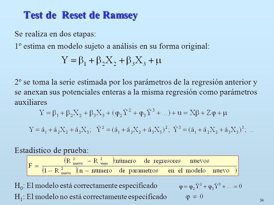 Test de Reset de Ramsey Se realiza en dos etapas: