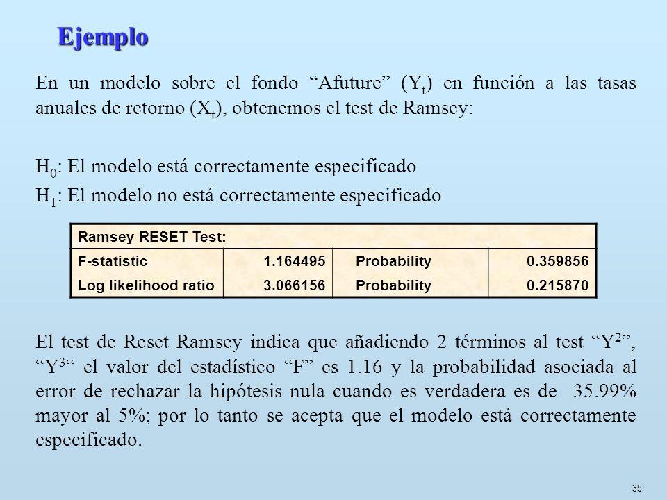 EjemploEn un modelo sobre el fondo Afuture (Yt) en función a las tasas anuales de retorno (Xt), obtenemos el test de Ramsey: