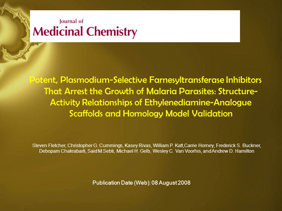 Potent, Plasmodium-Selective Farnesyltransferase Inhibitors That Arrest the Growth of Malaria Parasites: Structure-Activity Relationships of Ethylenediamine-Analogue Scaffolds and Homology Model Validation