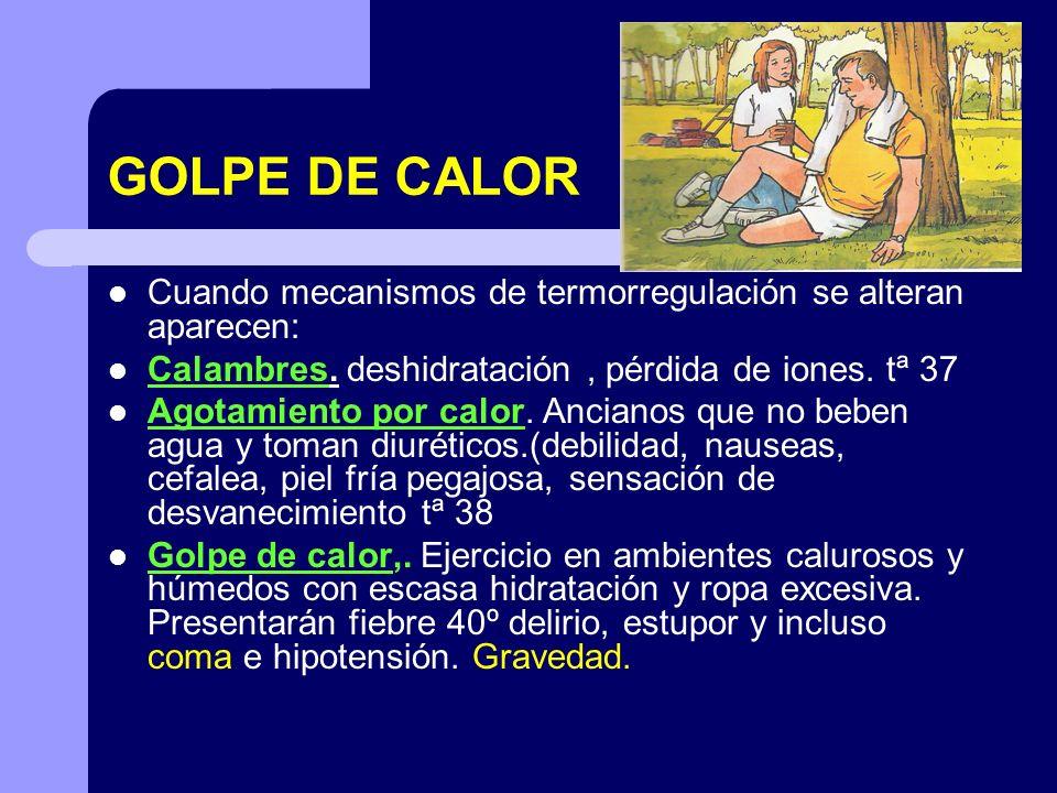GOLPE DE CALOR Cuando mecanismos de termorregulación se alteran aparecen: Calambres. deshidratación , pérdida de iones. tª 37.