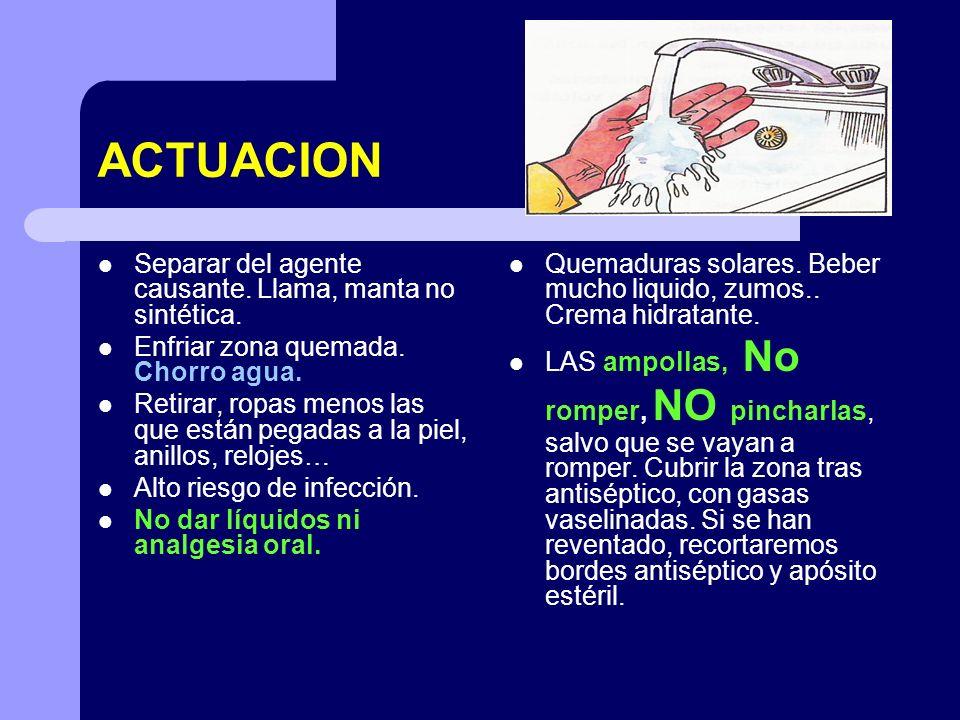 ACTUACION Separar del agente causante. Llama, manta no sintética.