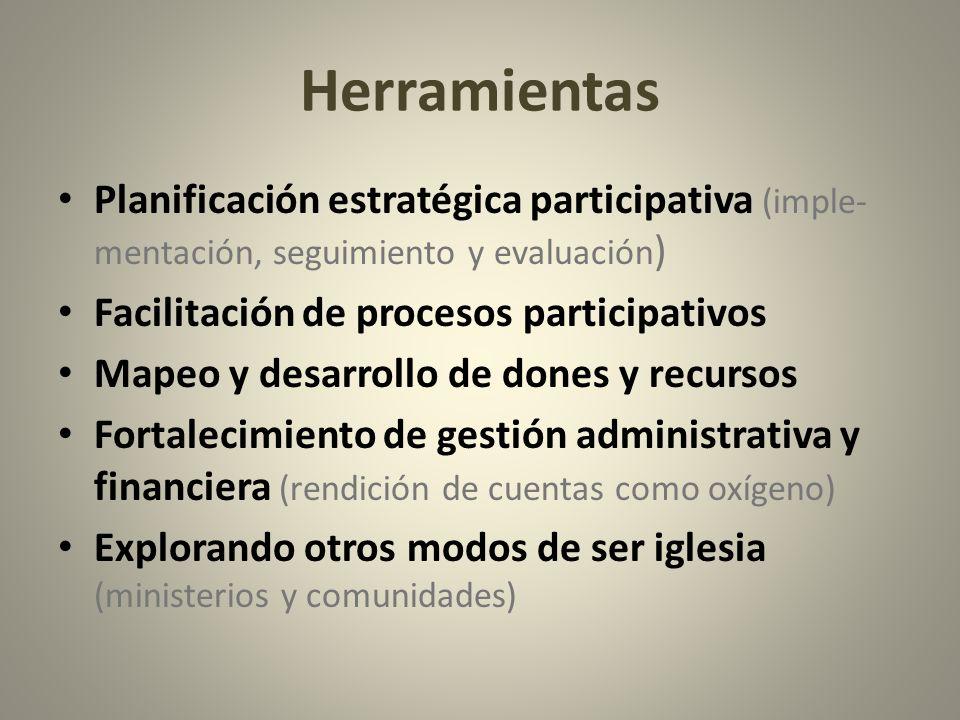 Herramientas Planificación estratégica participativa (imple-mentación, seguimiento y evaluación) Facilitación de procesos participativos.