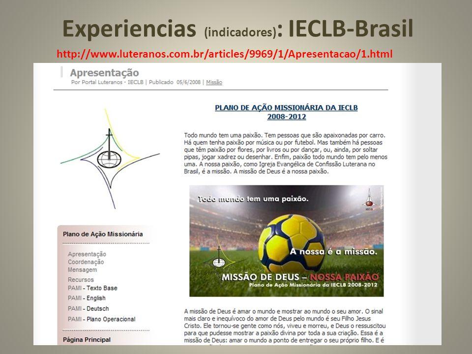 Experiencias (indicadores): IECLB-Brasil