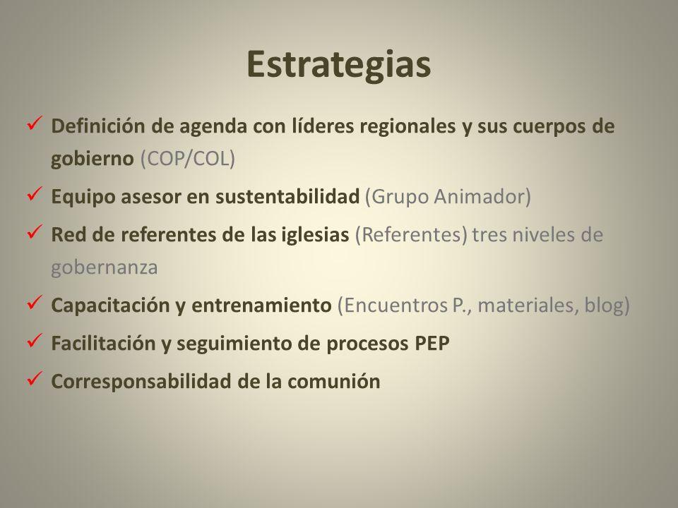 Estrategias Definición de agenda con líderes regionales y sus cuerpos de gobierno (COP/COL) Equipo asesor en sustentabilidad (Grupo Animador)