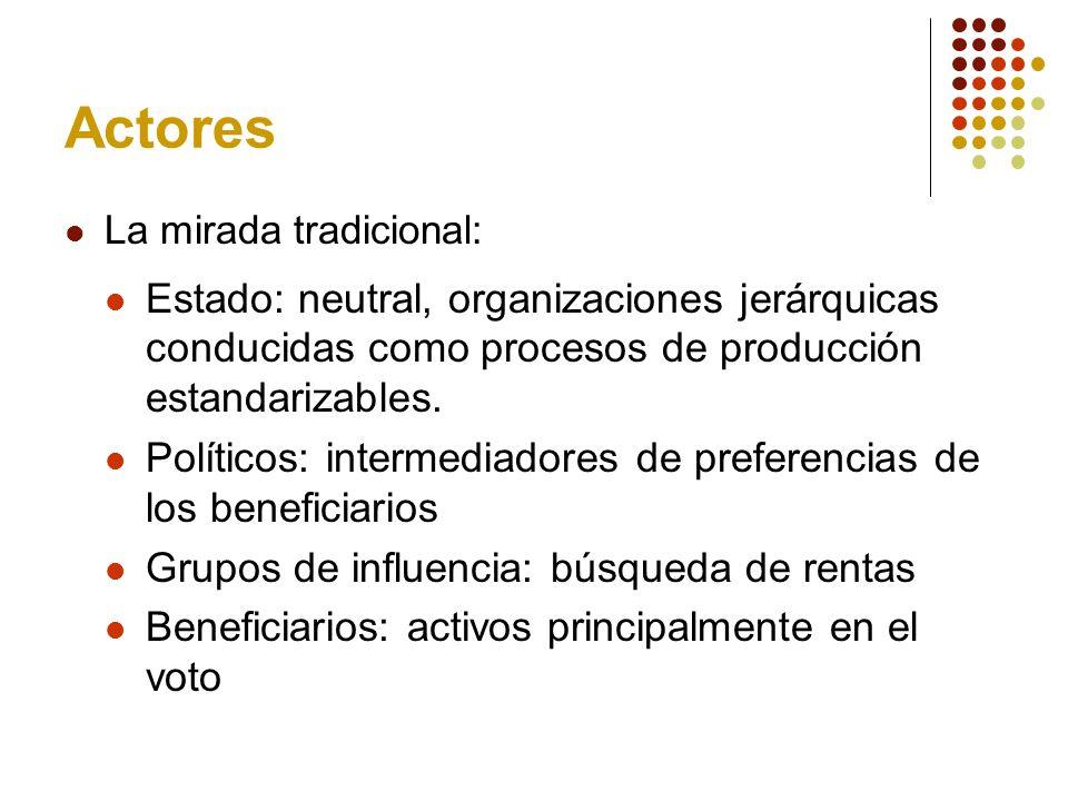 Actores La mirada tradicional: Estado: neutral, organizaciones jerárquicas conducidas como procesos de producción estandarizables.