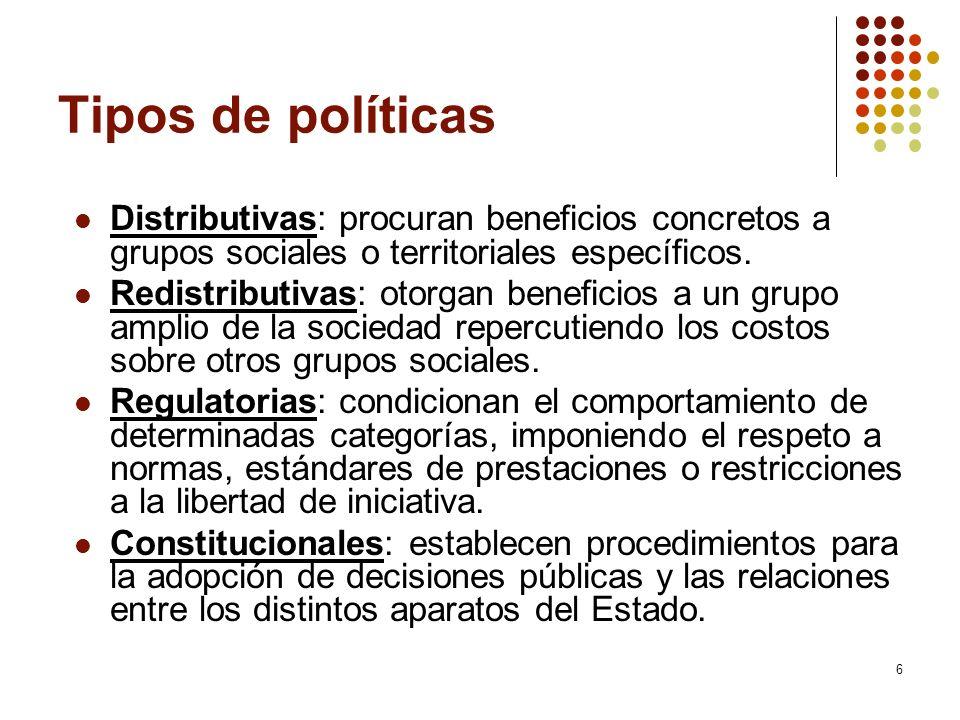 Tipos de políticas Distributivas: procuran beneficios concretos a grupos sociales o territoriales específicos.