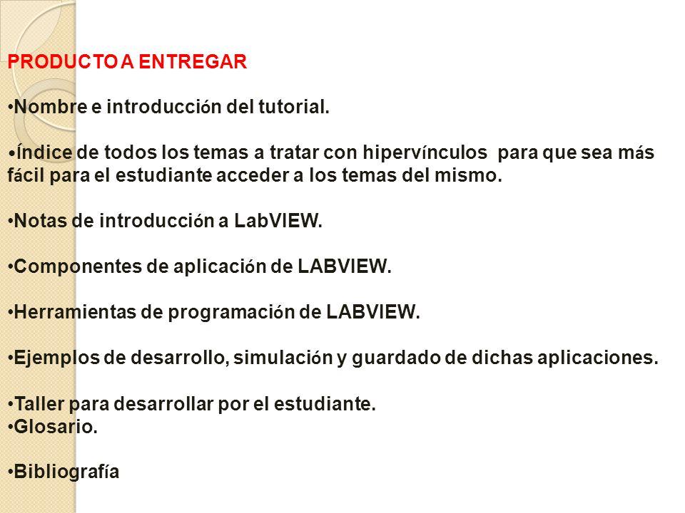 PRODUCTO A ENTREGAR Nombre e introducción del tutorial.