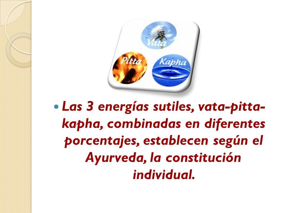 Las 3 energías sutiles, vata-pitta- kapha, combinadas en diferentes porcentajes, establecen según el Ayurveda, la constitución individual.