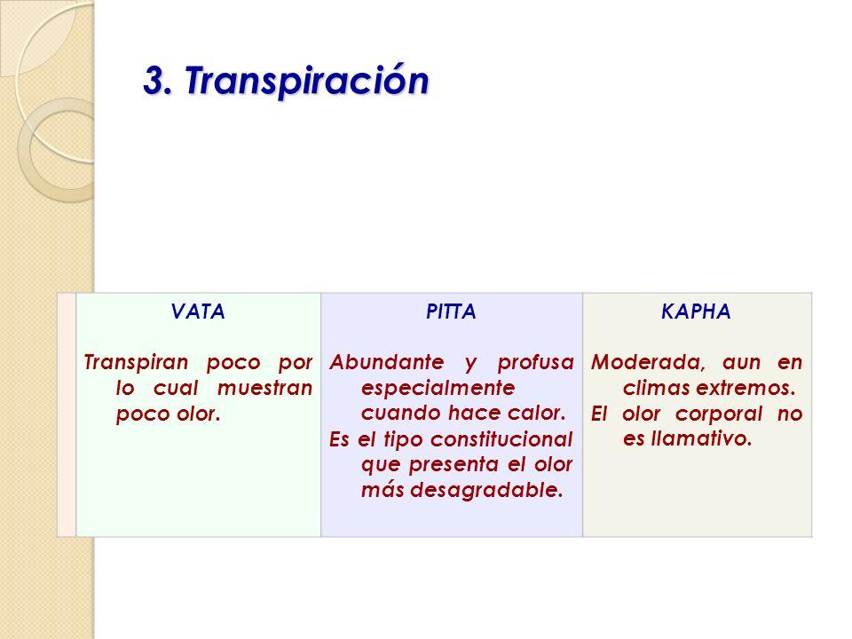 3. Transpiración VATA Transpiran poco por lo cual muestran poco olor.