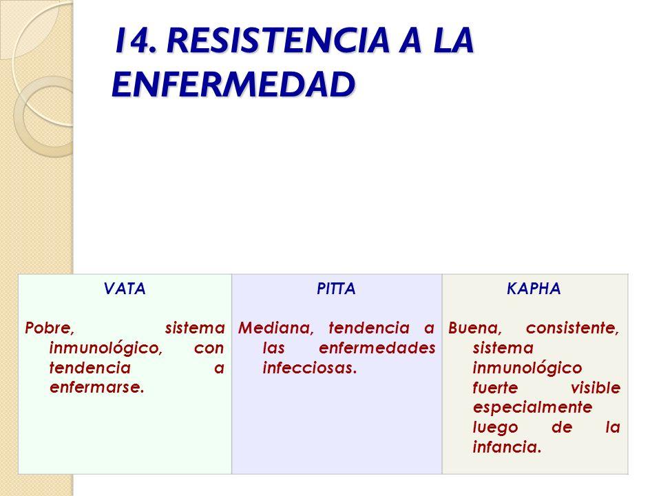 14. RESISTENCIA A LA ENFERMEDAD