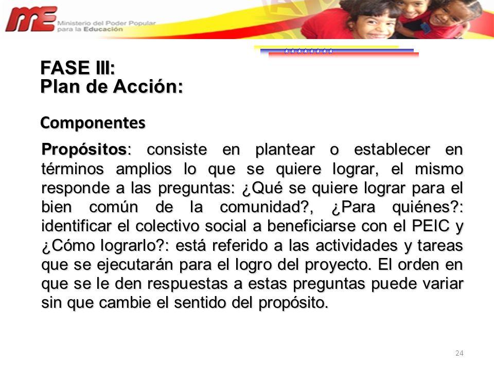 FASE III: Plan de Acción: Componentes