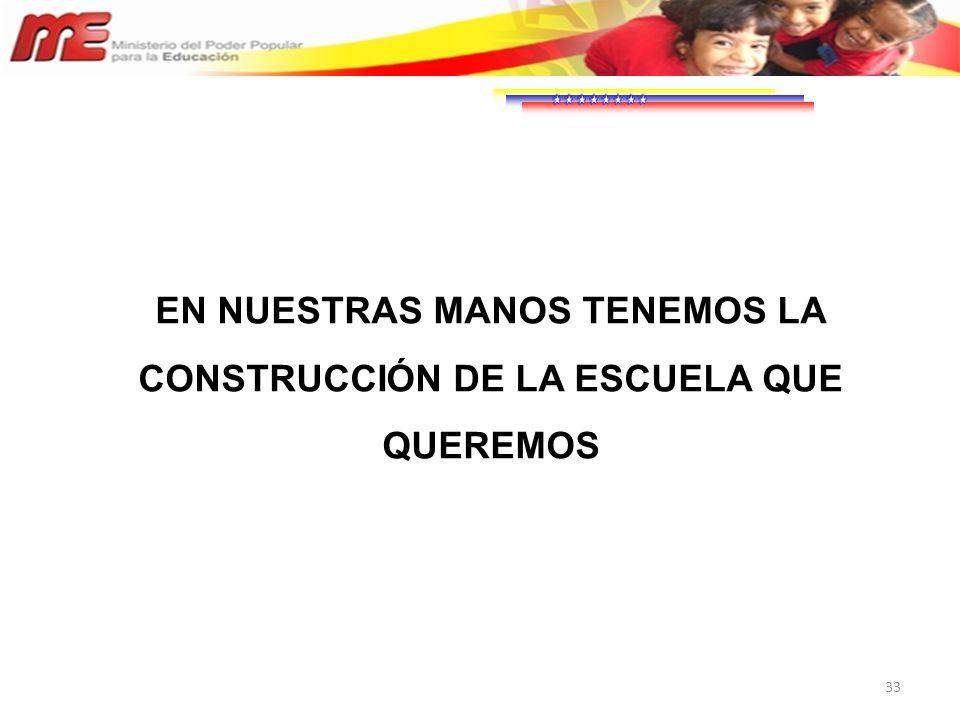 EN NUESTRAS MANOS TENEMOS LA CONSTRUCCIÓN DE LA ESCUELA QUE QUEREMOS