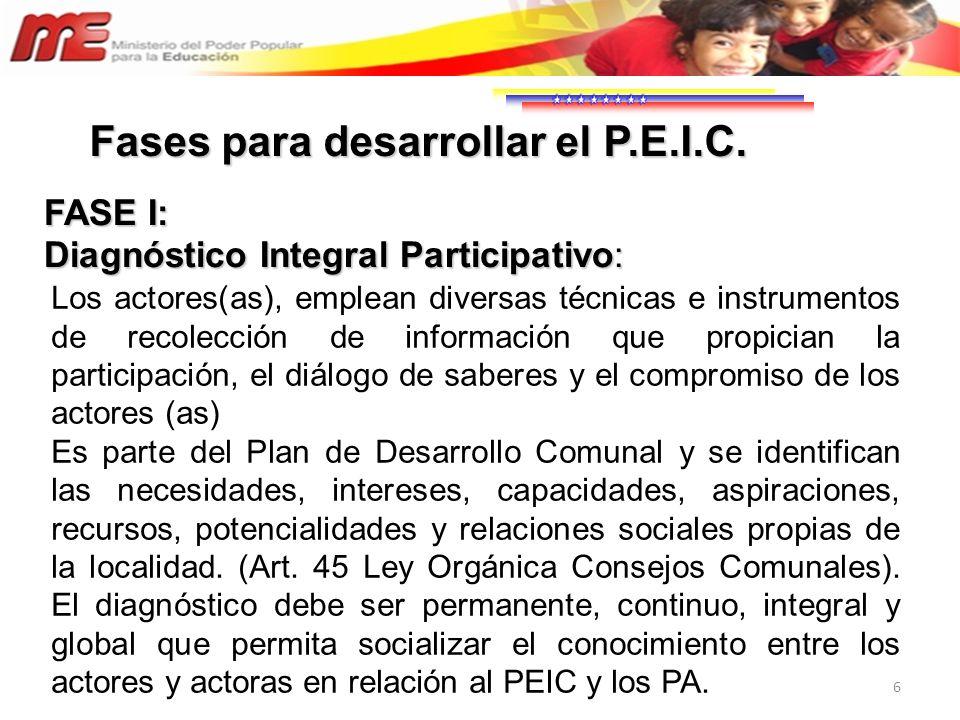 Fases para desarrollar el P.E.I.C.