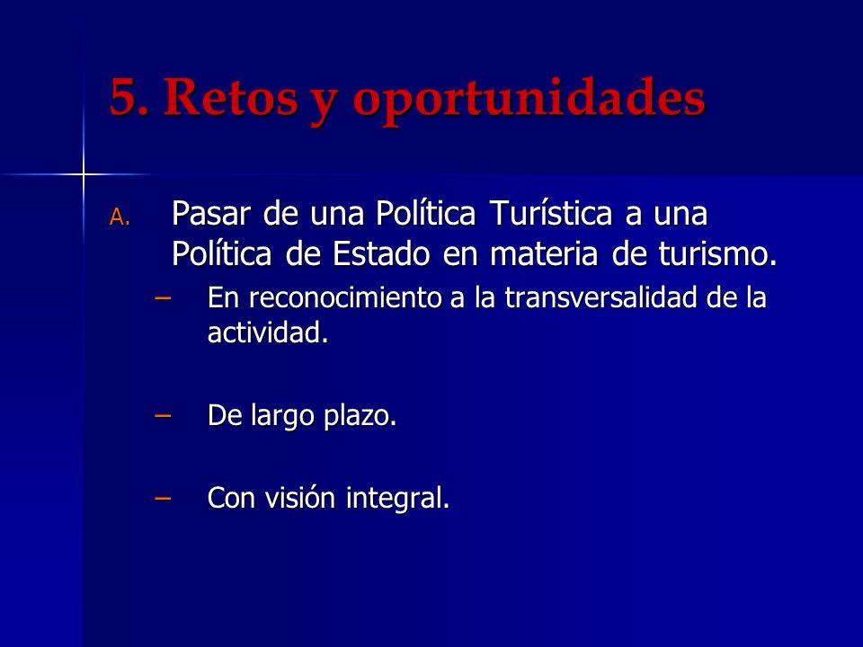 5. Retos y oportunidades Pasar de una Política Turística a una Política de Estado en materia de turismo.