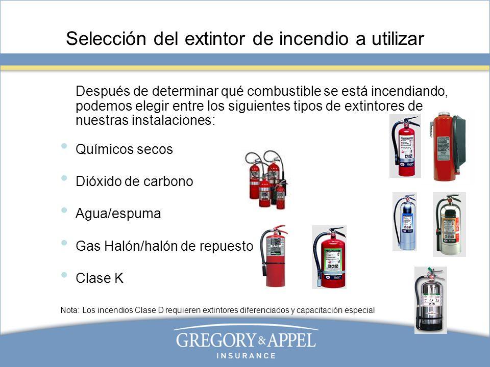 Selección del extintor de incendio a utilizar